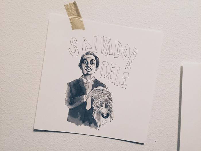 Inte svårt att se Salvador Dali med smörgåspålägg i mustaschen – en självklar Salvador Deli (i New York ligger det en deli som säljer mackor, snacks, dricka mm i princip varje hörn). Catherine – du är ett geni!