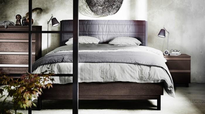 ikea ny sangstomme grå mjuk sänggavel prisvärd