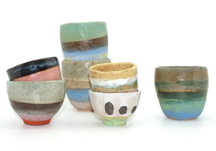 Stilleben-Shino-Takeda-Skålar-keramik-färgglad
