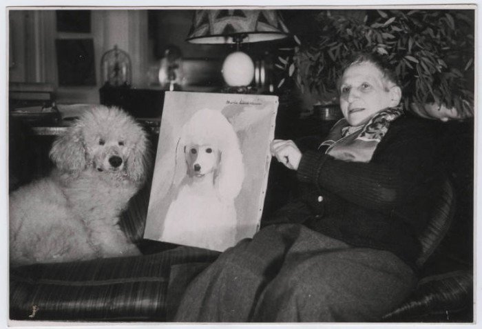 gertrude-stein-alice-b-toklas-apartment dog Gertrude Stein with Basket II and Marie Laurencin's portrait of Basket II